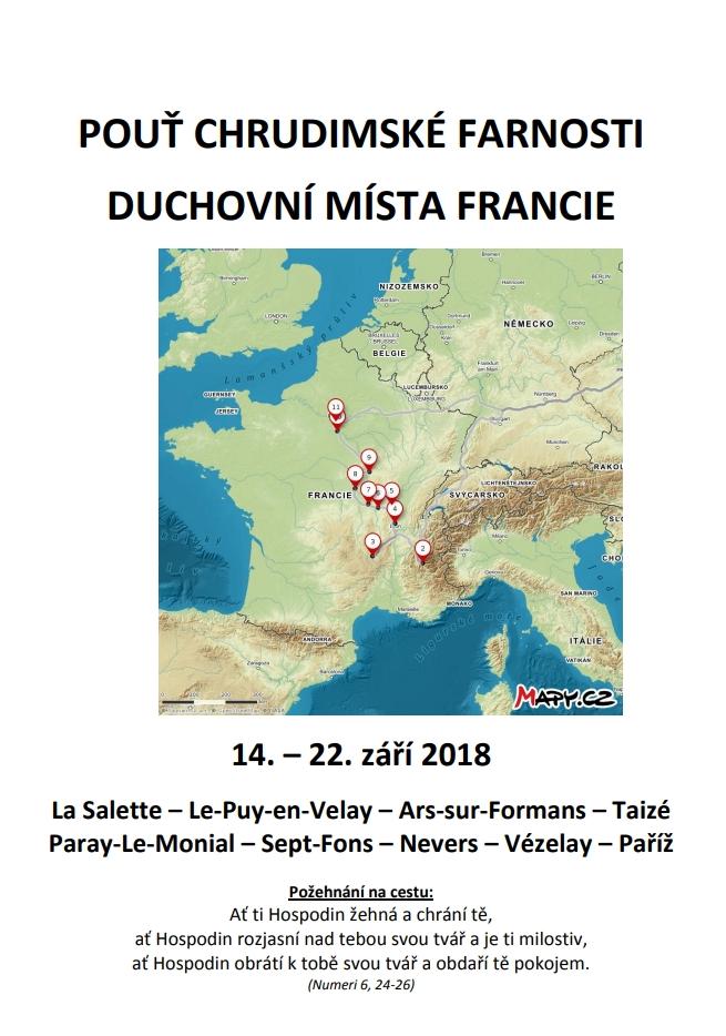 Farní pouť do Francie - modlitební brožurka