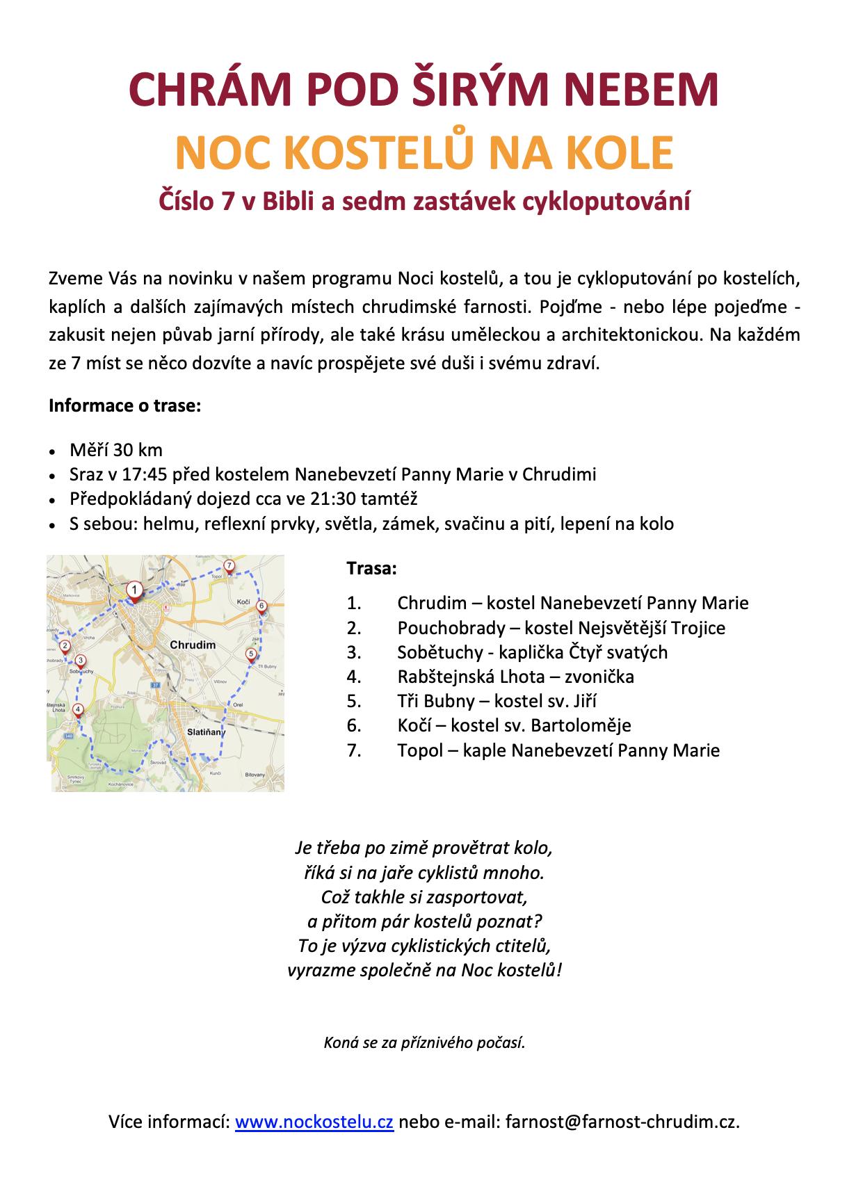 Noc kostelů na kole 2021 - Chrudim